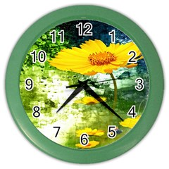 Yellow Flowers Color Wall Clocks by BangZart