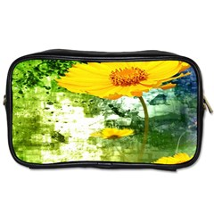 Yellow Flowers Toiletries Bags 2 Side
