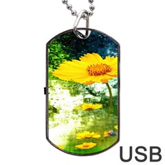 Yellow Flowers Dog Tag Usb Flash (two Sides) by BangZart