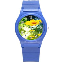 Yellow Flowers Round Plastic Sport Watch (s) by BangZart