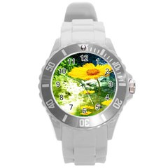 Yellow Flowers Round Plastic Sport Watch (l)