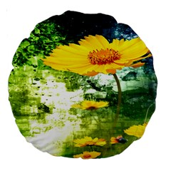 Yellow Flowers Large 18  Premium Round Cushions by BangZart