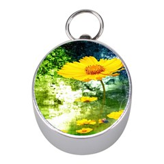 Yellow Flowers Mini Silver Compasses