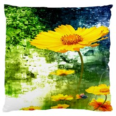 Yellow Flowers Large Flano Cushion Case (one Side)