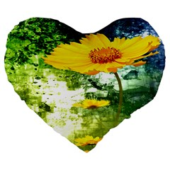 Yellow Flowers Large 19  Premium Flano Heart Shape Cushions by BangZart