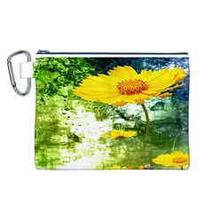 Yellow Flowers Canvas Cosmetic Bag (l) by BangZart