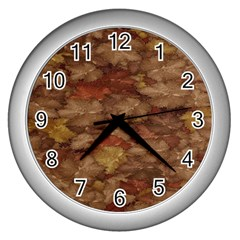 Brown Texture Wall Clocks (silver)