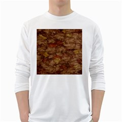 Brown Texture White Long Sleeve T Shirts