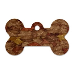 Brown Texture Dog Tag Bone (one Side)