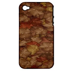 Brown Texture Apple Iphone 4/4s Hardshell Case (pc+silicone)