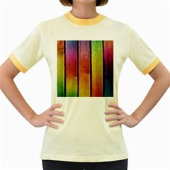 Colourful Wood Painting Women s Fitted Ringer T Shirts