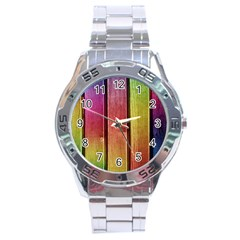Colourful Wood Painting Stainless Steel Analogue Watch by BangZart