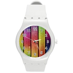 Colourful Wood Painting Round Plastic Sport Watch (m) by BangZart