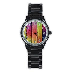 Colourful Wood Painting Stainless Steel Round Watch
