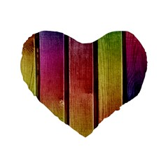 Colourful Wood Painting Standard 16  Premium Flano Heart Shape Cushions by BangZart
