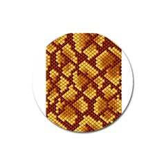 Snake Skin Pattern Vector Magnet 3  (round) by BangZart