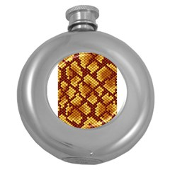 Snake Skin Pattern Vector Round Hip Flask (5 Oz) by BangZart