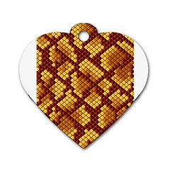 Snake Skin Pattern Vector Dog Tag Heart (two Sides)
