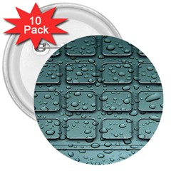 Water Drop 3  Buttons (10 Pack)