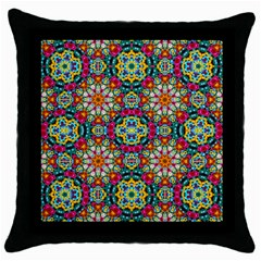 Jewel Tiles Kaleidoscope Throw Pillow Case (black) by WolfepawFractals
