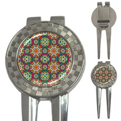 Jewel Tiles Kaleidoscope 3 In 1 Golf Divots by WolfepawFractals