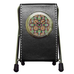 Jewel Tiles Kaleidoscope Pen Holder Desk Clocks by WolfepawFractals