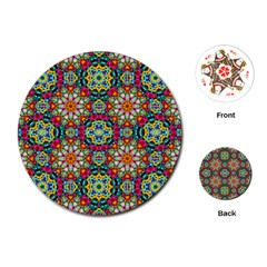 Jewel Tiles Kaleidoscope Playing Cards (round)  by WolfepawFractals