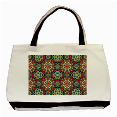 Jewel Tiles Kaleidoscope Basic Tote Bag (two Sides) by WolfepawFractals