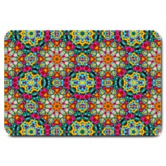 Jewel Tiles Kaleidoscope Large Doormat  by WolfepawFractals