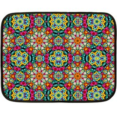 Jewel Tiles Kaleidoscope Double Sided Fleece Blanket (mini)  by WolfepawFractals