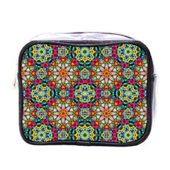 Jewel Tiles Kaleidoscope Mini Toiletries Bags by WolfepawFractals