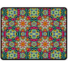 Jewel Tiles Kaleidoscope Fleece Blanket (medium)  by WolfepawFractals