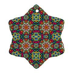 Jewel Tiles Kaleidoscope Snowflake Ornament (two Sides) by WolfepawFractals