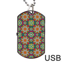 Jewel Tiles Kaleidoscope Dog Tag Usb Flash (two Sides) by WolfepawFractals