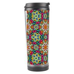 Jewel Tiles Kaleidoscope Travel Tumbler by WolfepawFractals