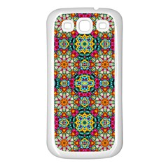Jewel Tiles Kaleidoscope Samsung Galaxy S3 Back Case (white) by WolfepawFractals