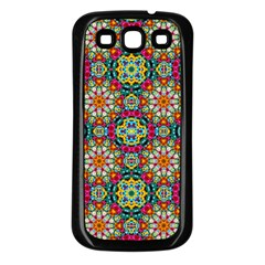 Jewel Tiles Kaleidoscope Samsung Galaxy S3 Back Case (black) by WolfepawFractals