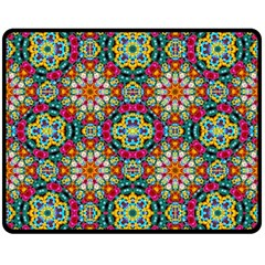 Jewel Tiles Kaleidoscope Double Sided Fleece Blanket (medium)  by WolfepawFractals