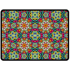 Jewel Tiles Kaleidoscope Double Sided Fleece Blanket (large)  by WolfepawFractals