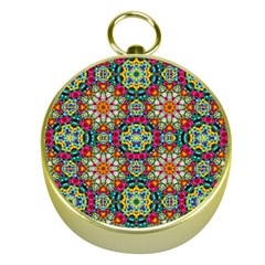 Jewel Tiles Kaleidoscope Gold Compasses by WolfepawFractals