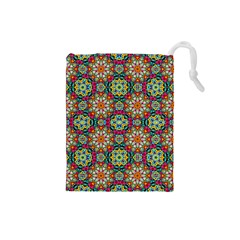 Jewel Tiles Kaleidoscope Drawstring Pouches (small)  by WolfepawFractals