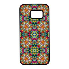Jewel Tiles Kaleidoscope Samsung Galaxy S7 Black Seamless Case by WolfepawFractals