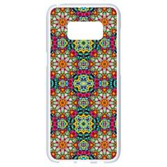 Jewel Tiles Kaleidoscope Samsung Galaxy S8 White Seamless Case by WolfepawFractals