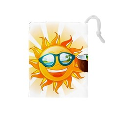 Cartoon Sun Drawstring Pouches (medium)  by LimeGreenFlamingo