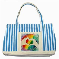 Pride Love Striped Blue Tote Bag by LimeGreenFlamingo