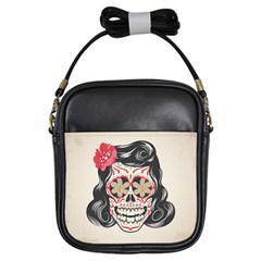 Woman Sugar Skull Girls Sling Bags by LimeGreenFlamingo