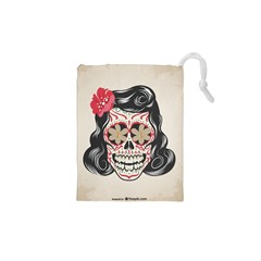 Woman Sugar Skull Drawstring Pouches (xs)  by LimeGreenFlamingo