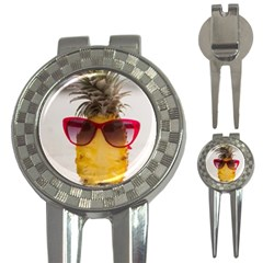 Pineapple With Sunglasses 3 In 1 Golf Divots by LimeGreenFlamingo