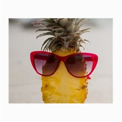 Pineapple With Sunglasses Small Glasses Cloth (2 Side) by LimeGreenFlamingo