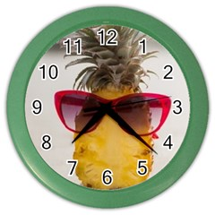 Pineapple With Sunglasses Color Wall Clocks
